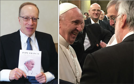 "Elie Hirschfeld holding a book by Pope Francis titled ""The Year of Mercy;"" and a shot of Pope Francis taken by Hirschfeld"