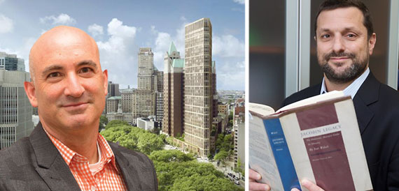 From left: David Kramer, a rendering of the Library redevelopment and David Woloch