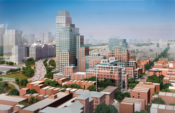 A developer's rendering shows its LICH plan after proposed rezoning.