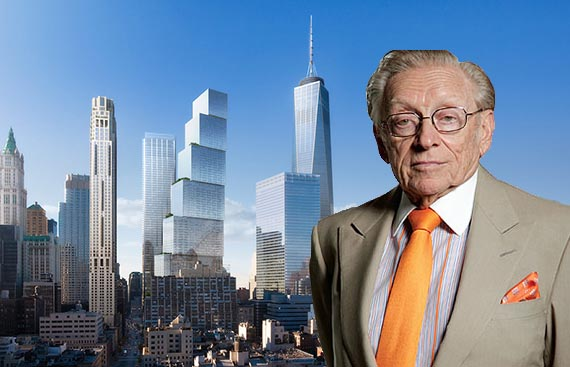 Rendering of 2 World Trade Center (inset: Larry Silverstein)
