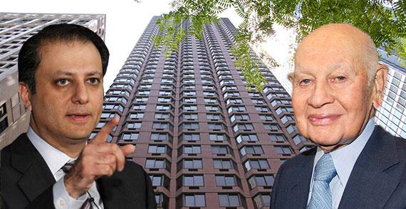 Preet Bharara and Leonard Litwin with Glenwood's Liberty Plaza