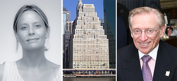 From left: Droga5's Sarah Thompson, 120 Wall Street in the Financial District and Larry Silverstein