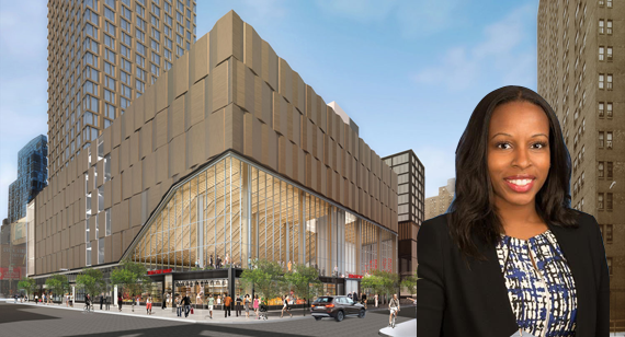 Margaret Anadu of Goldman Sachs and a rendering of Essex Crossing
