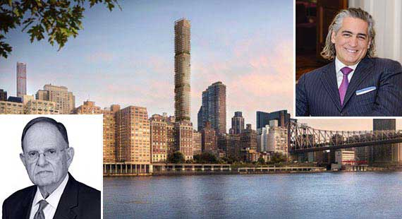 A rendering of 3 Sutton Place on the Upper East Side (inset from left: N. Richard Kalikow of Gamma, and Joseph Beninati, of Bauhouse)