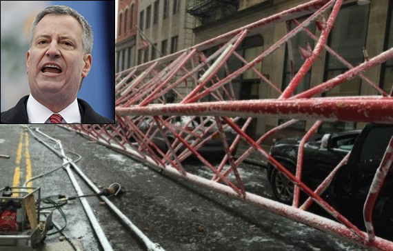 Mayor Bill de Blasio and the fallen crane