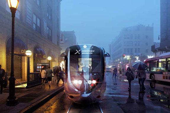 Rendering of Brooklyn-Queens streetcar line (credit: Friends of the Brooklyn Queens Connector)