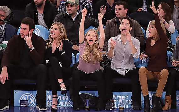 Celebrities in Elliman seats at a Knicks game