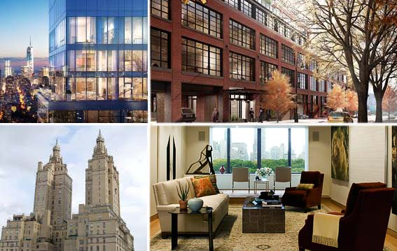 Clockwise: Rendering of One Madison, 150 Charles Street, the San Remo and an apartment over looking Central Park (credit: Berg & Forster Architects)