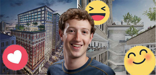 Mark Zuckerberg and renderings of 225 Park Avenue South (renderings credit: Neoscape)