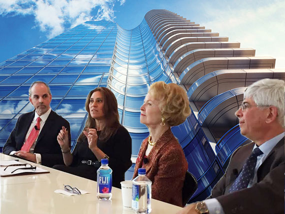 From left: Ross Moskowitz, Samantha Sheeber, Elizabeth Stribling and Jay Neveloff with a rendering of 252 East 57th Street (credit: Skidmore, Owings & Merrill)