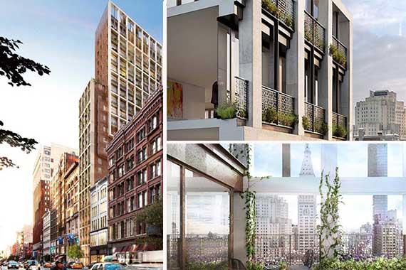 Renderings of 39 West 23rd Street in the Flatiron District (Credit: Anbau Enterprises