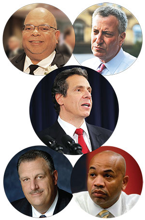 Top left, John Banks, REBNY president; top right, Mayor Bill de Blasio; center, Gov. Andrew Cuomo; lower left, Gary LaBarbera, president of the Building and Construction Trades Council; lower right, Assembly Speaker Carl Heastie (Click to enlarge)