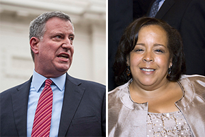 From left: Mayor Bill de Blasio and Justice Fern Fisher