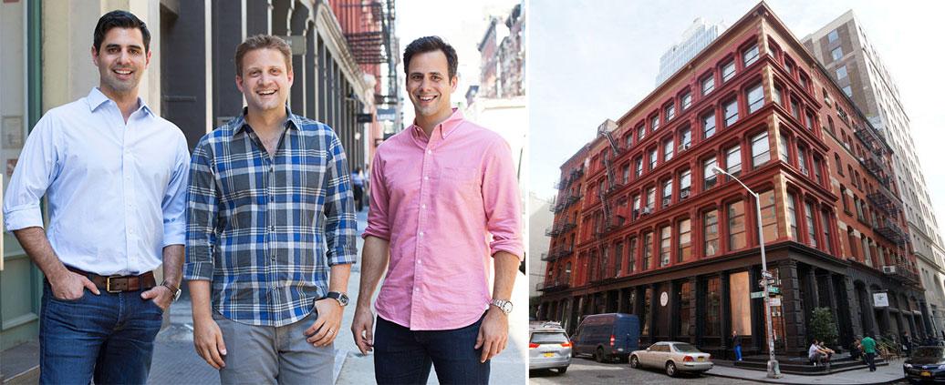 Blue Apron cofounders llia Papas, CEO Matt Salzburg and Matt Wadiak with 5 Crosby Street