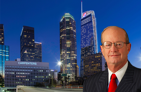 John Cushman III and a rendering of the Wilshire Grand by Ace Martin