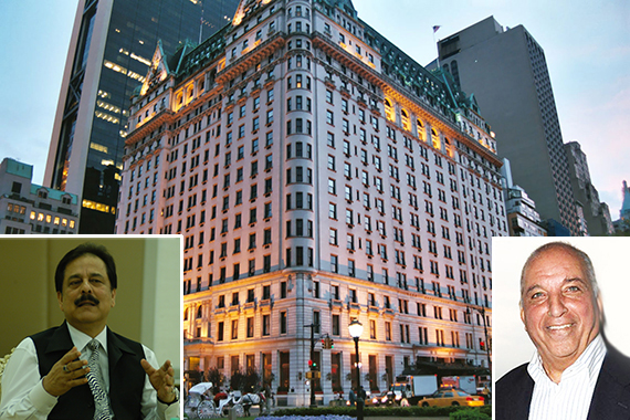 The Plaza Hotel (inset from left: Subrata Roy and David Reuben)