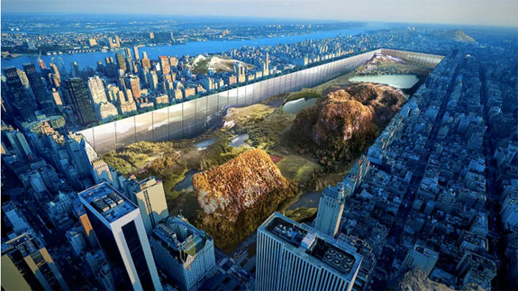 A rendering of the futuristic Central Park (Credit: Yitan Sun and Jianshi Wu via eVolo).