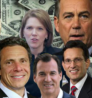Clockwise from top left: ALTA's Michelle Korsmo, John Boehner, Eric Cantor, Tom Suozzi and Andrew Cuomo