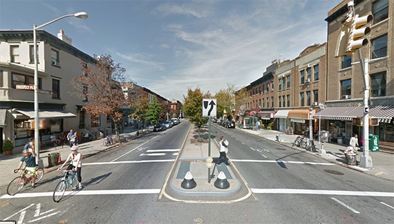 The corner of Vanderbilt Avenue and Prospect Place in Prospect Heights (credit: Google)
