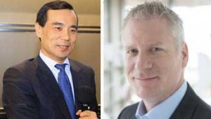 From left: Anbang's Wu Xiaohui of Anbang and Thomas Mangas of Starwood