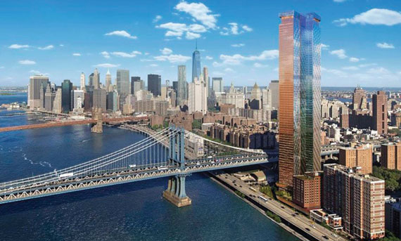 A rendering of One Manhattan Square in the Financial District