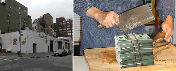 From left: 601 Washington Street in the West Village and a pile of money (credit: Wikimedia Commons)