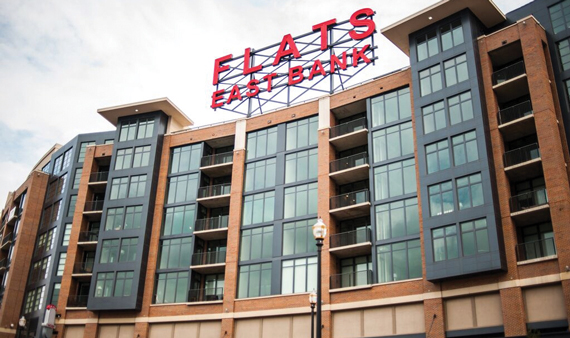 The Flats East Bank, a new apartment complex in downtown Cleveland.