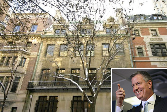 The Harkness Mansion (inset: Bill de Blasio)