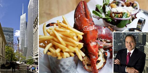 One Bryant Park, a Burger & Lobster lobster (inset: Douglas Durst)