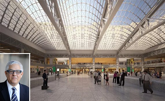 A rendering of the redeveloped Penn Station (inset: Mitchell Moss)