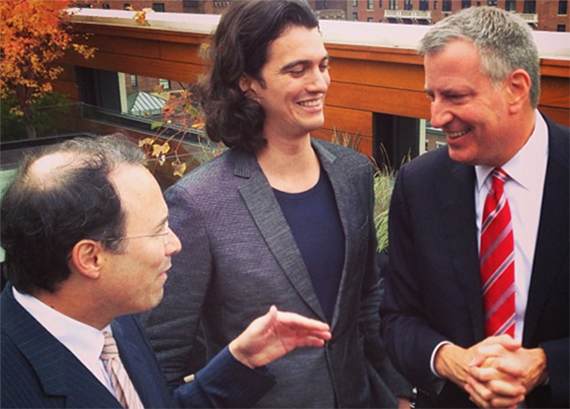 From left: Gary Barnett, Adam Neumann and Bill de Blasio in a 2013 Instagram post by Miguel McKelvey
