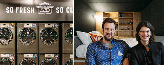 From left: interior images of the 110 Wall Street WeLive, MIguel McKelvey and Adam Neumann