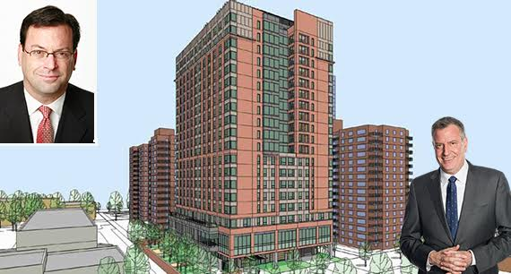 A rendering of nursing home on West 97th Street on the Upper West Side (credit: Jewish Home Lifecare) (inset: Barry Berke and Bill de Blasio)