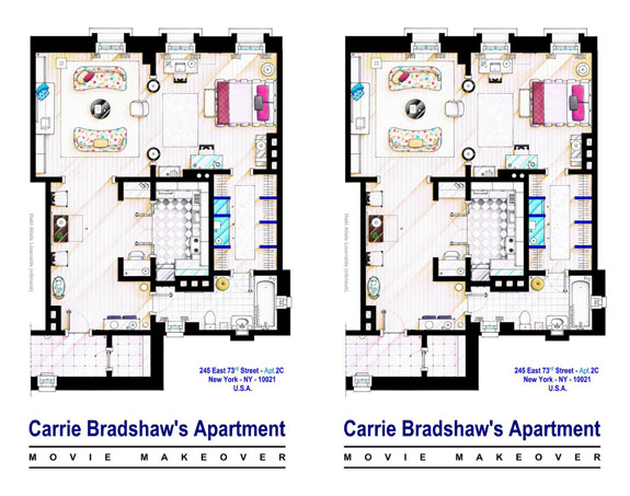 Carrie Bradshaw's apartments.  carrie_bradshaw_apt___sex_and_the_city_movies__by_nikneuk-d8hle5j