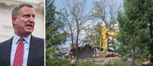 From left: Bill de Blasio and Demolition work at Savo Bros.' Mount Manresa residential development (credit: Save Mount Manresa)