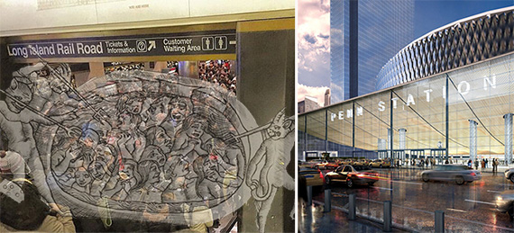 From left: Current Penn Station and rendering of redeveloped station