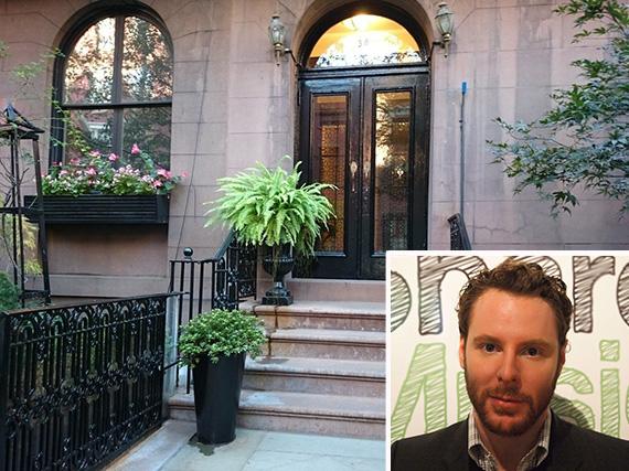 38 West 10th Street in Greenwich Village (inset: Sean Parker)