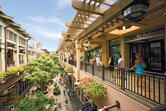 Ala Moana in Honolulu attracts Asia-Pacific visitors who support its rich array of retail stores.