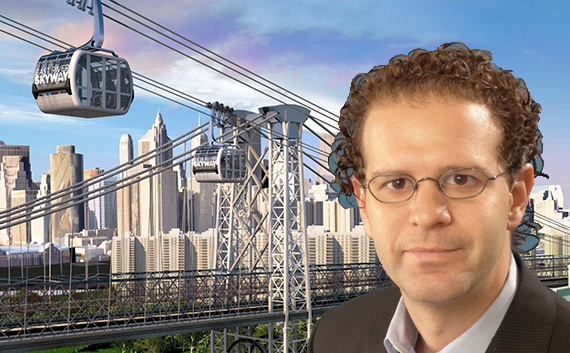 Daniel Levy and a rendering of the East River Skyway