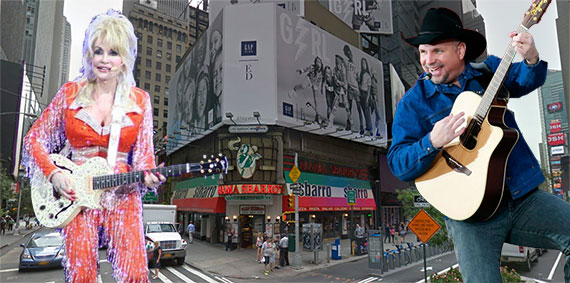 1604 Broadway in Times Square with Dolly Parton and Garth Brooks