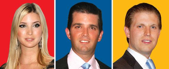 From left: Ivanka Trump, Donald Trump Jr., Eric Trump