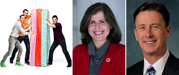 Airbnb's founders Joe Gebbia, Nathan Blecharczyk and Brian Chesky, Helen Rosenthal and the New York Peter Ward