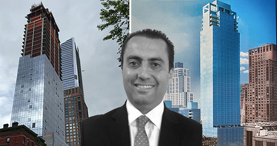 Kevin Lalezarian with 507 West 28th Street in West Chelsea and a rendering of the completed building