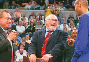 Mel Simon, center, with Herb Simon and Reggie Miller