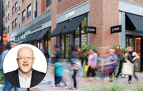 Assembly Row in Somerville, Mass. is targeting newcomers with retail in the mix, including J. Crew. (Inset: J. Crew CEO Mickey Drexler)