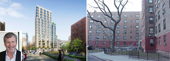From left: Rendering for affordable units near Ingersoll Houses in Fort Greene and the Ingersoll Houses (inset: Donald Capoccia from BFC Partners)