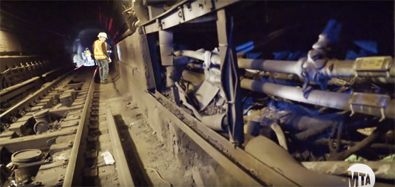 Damage in the Canarsie tunnel