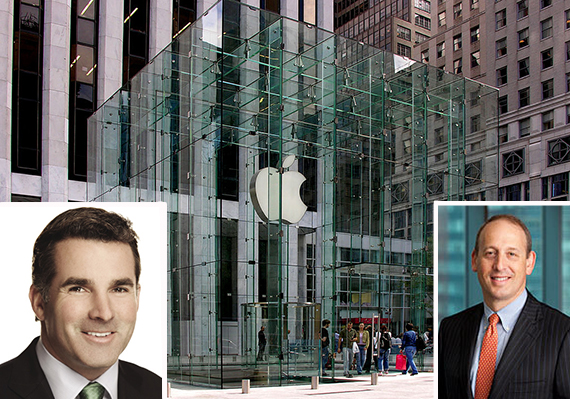 767 Fifth Avenue in Midtown (inset: Under Armour CEO Kevin Plank and Doug Linde)