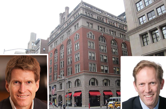 Current location of Business Insider 150 5th Avenue in the Flatiron District (inset: Bill Peters at JLL and Henry Blodget, EIC of Business Insider)