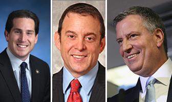 From left: Todd Kaminsky, David Lichtenstein and Mayor Bill de Blasio